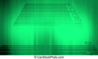 Green and bar codes looping background
