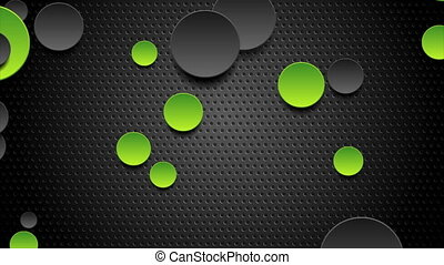 Green and black abstract circles on dark perforated background