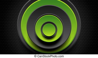 Green and black abstract moving circles on dark perforated background