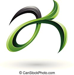 Green and Black Curly Fish Tail Like Letters A and K Vector Illustration