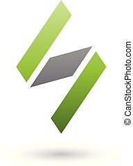 Green and Black Diamond Shaped Letter S Vector Illustration