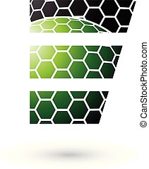 Green and Black Letter E with Honeycomb Pattern Vector Illustration