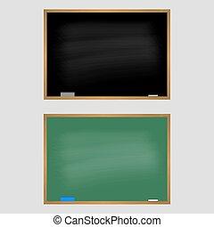 Green and black school blackboard vector