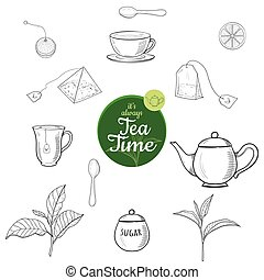 Green and black tea hand drawn ink sketch outline vector set