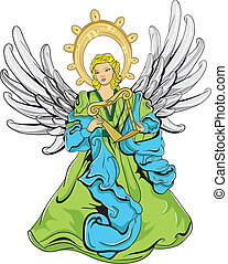 Green and blue angel with wings and a harp - This file...