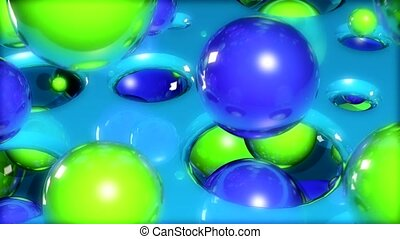 Green and blue balls