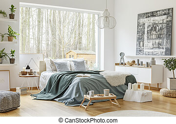 Green and blue bedroom interior