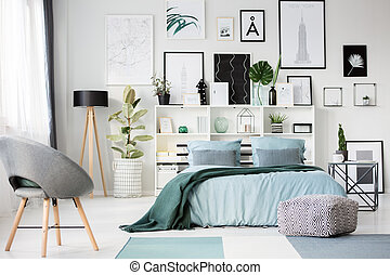 Green and blue bedroom interior - Grey armchair and ...