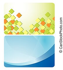 green and blue cards with abstractions - vector set
