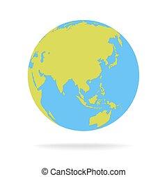 green and blue cartoon world map globe vector illustration