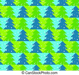 Green and blue color Christmas vector seamless pattern with trees. Xmas texture with snow. Christmas pattern. Christmas trees vector illustration. Wrapping paper.