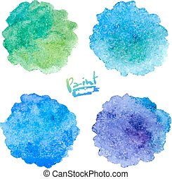 Green and blue colors watercolor splashes set