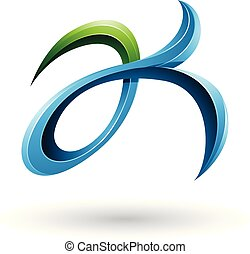 Green and Blue Curly Fish Tail Like Letters A and K Vector Illustration