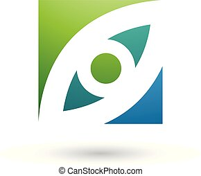 Green and Blue Eye Shaped Square Vector Illustration