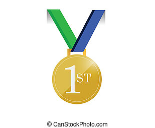 green and blue first place medal illustration