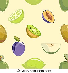 Green and blue fruits seamless pattern over white background