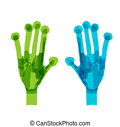 Green and blue hands. Ecology concept for your design