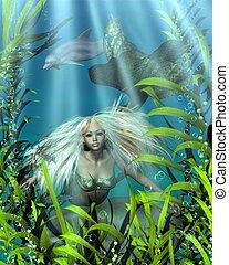 Green and Blue Mermaid in Seaweed