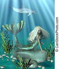 Green and Blue Mermaid Underwater