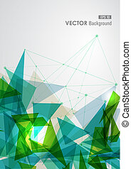 Modern blue and green network transparent triangles abstract background illustration. EPS10 vector with transparency organized in layers for easy editing.