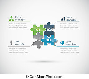 Green and blue puzzle piece infographics business concept...