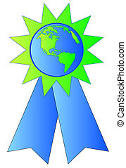 green and blue ribbon made with earth or globe in the center