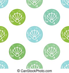 Green and Blue Sea Shell Pattern on White Background
