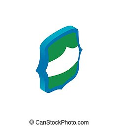 Green and blue shield icon, isometric 3d style