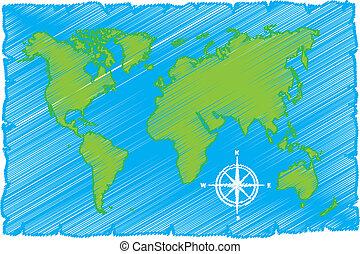sketch of world map
