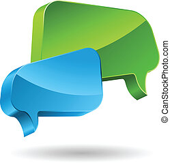 Green and blue speech bubbles 3D icon.