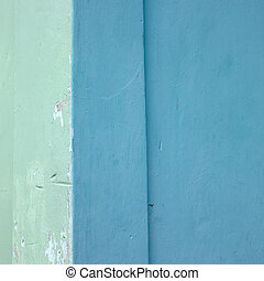 green and blue wall