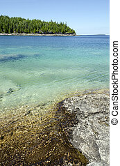 Green and blue water of Huron Lake