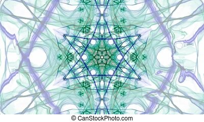 Green and blue watercolor symmetric star patterns in divergent and convergent tunnel motion, fractal on white background