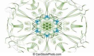 Green and blue watercolor symmetric star patterns with rotating area, fractal on white background