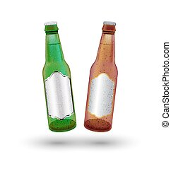 green and brown beer bottle on a white background