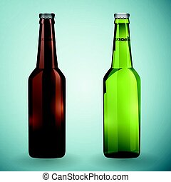 Green and brown bottles of beer on a grey background. Vector illustration