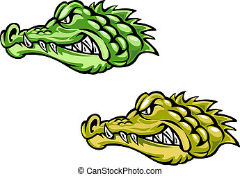Green and brown crocodiles