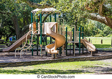 Green and Brown Playground in Public Park