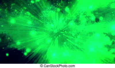 Green and dark blue abstract stars grunge light streaks looping abstraction