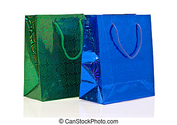green and dark blue packages