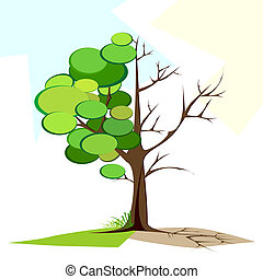 Green and Dry tree - illustration of tree half full of green...