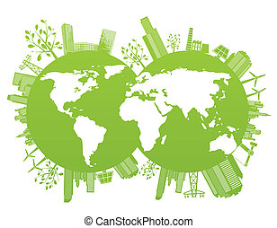 Green and environment planet background - vector...