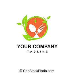 green and fresh food restaurant for keto diet and healthy food company logo and icon