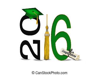 green and gold 2016 graduation - Green 2016 graduation cap...