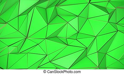 Green and gold abstract low poly triangle background