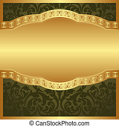 background - green and gold background with floral ornaments...