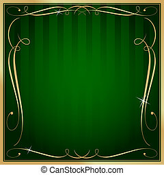 Green and Gold Blank Square Striped Ornate Vector Background...