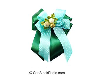 green and gold christmas ribbon bow isolated on white