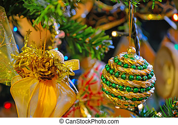 green and gold Christmas tree