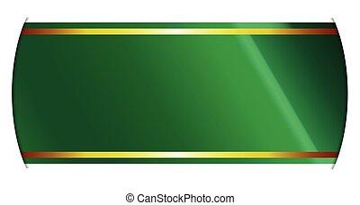Green And Gold Ribbon Banner - A green and gold satin ribbon...